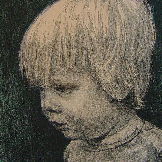steendruk - Abe 28 x 19 cm - donkerblauw